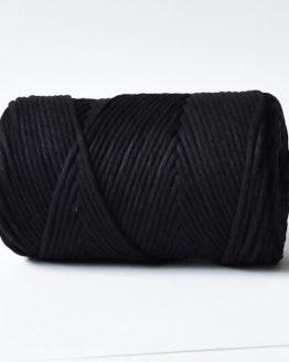 3 mm macrame touw black zwart katoen koord 1-ply