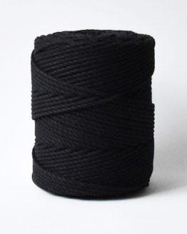 4 mm macrame touw black zwart katoen koord 3-ply
