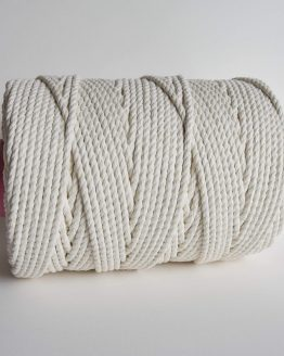 5 mm macrame touw 3-ply gedraaid, 3-ply twisted rope natural cotton katoen