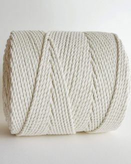 3 mm macrame touw 3-ply gedraaid, 3-ply twisted rope natural cotton katoen