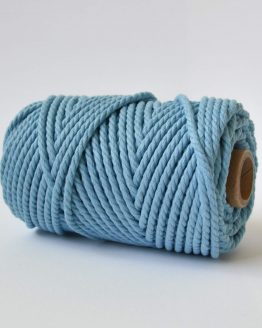 4 mm luxe macrame touw twisted blue