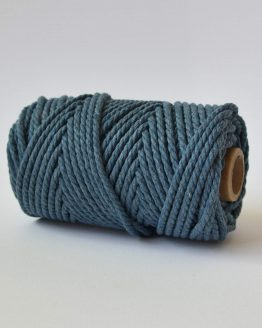 5 mm luxe macrame touw twisted denim