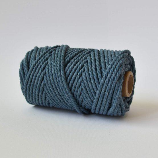 5 mm luxe macrame touw twisted denim