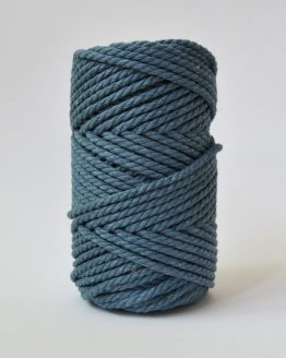 4 mm luxe macrame touw twisted denim