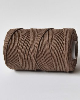 2,5 mm macrame touw koord 3-ply twisted gedraaid in sticky toffee