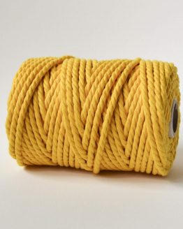6 mm macrame touw 3-ply oekotex-100 katoen sunshine yellow