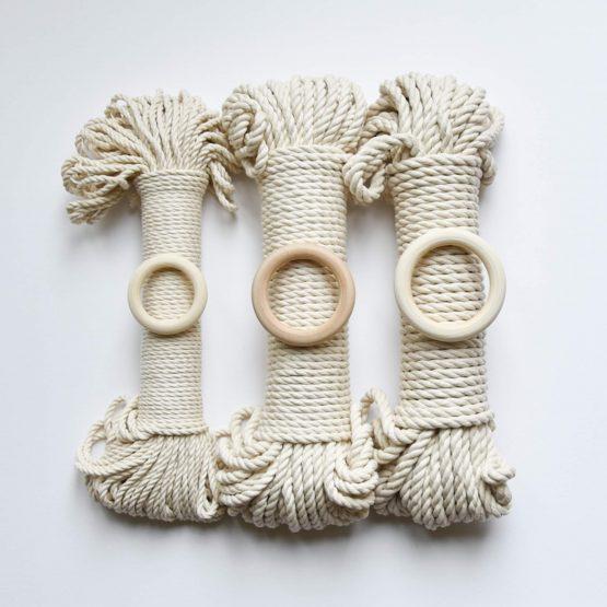 3 x bundle creadoodle macrame touw rope natural raw ecru planthanger ring