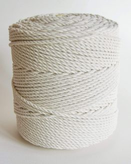 4 mm macrame touw 3-ply gedraaid, 3-ply twisted rope natural cotton katoen