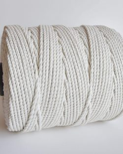 6 mm macrame touw 3-ply gedraaid, 3-ply twisted rope natural cotton katoen