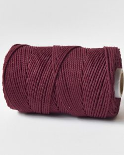 2,5 mm macrame touw koord 3-ply twisted gedraaid in garnet red