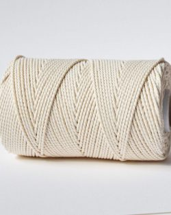 creadoodle soft 2,5 mm macrame touw 3 strengs gedraaid naturel wit