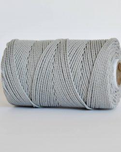creadoodle 2.5 3 mm katoen koord 3-ply twisted gedraaid gerecycled cotton rope macrame twisted light grey