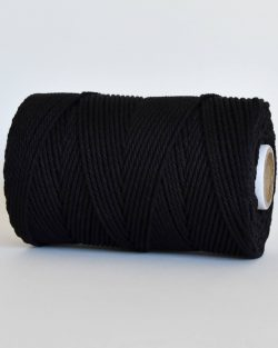 creadoodle 2.5 3 mm katoen koord 3-ply twisted gedraaid gerecycled cotton rope macrame twisted black