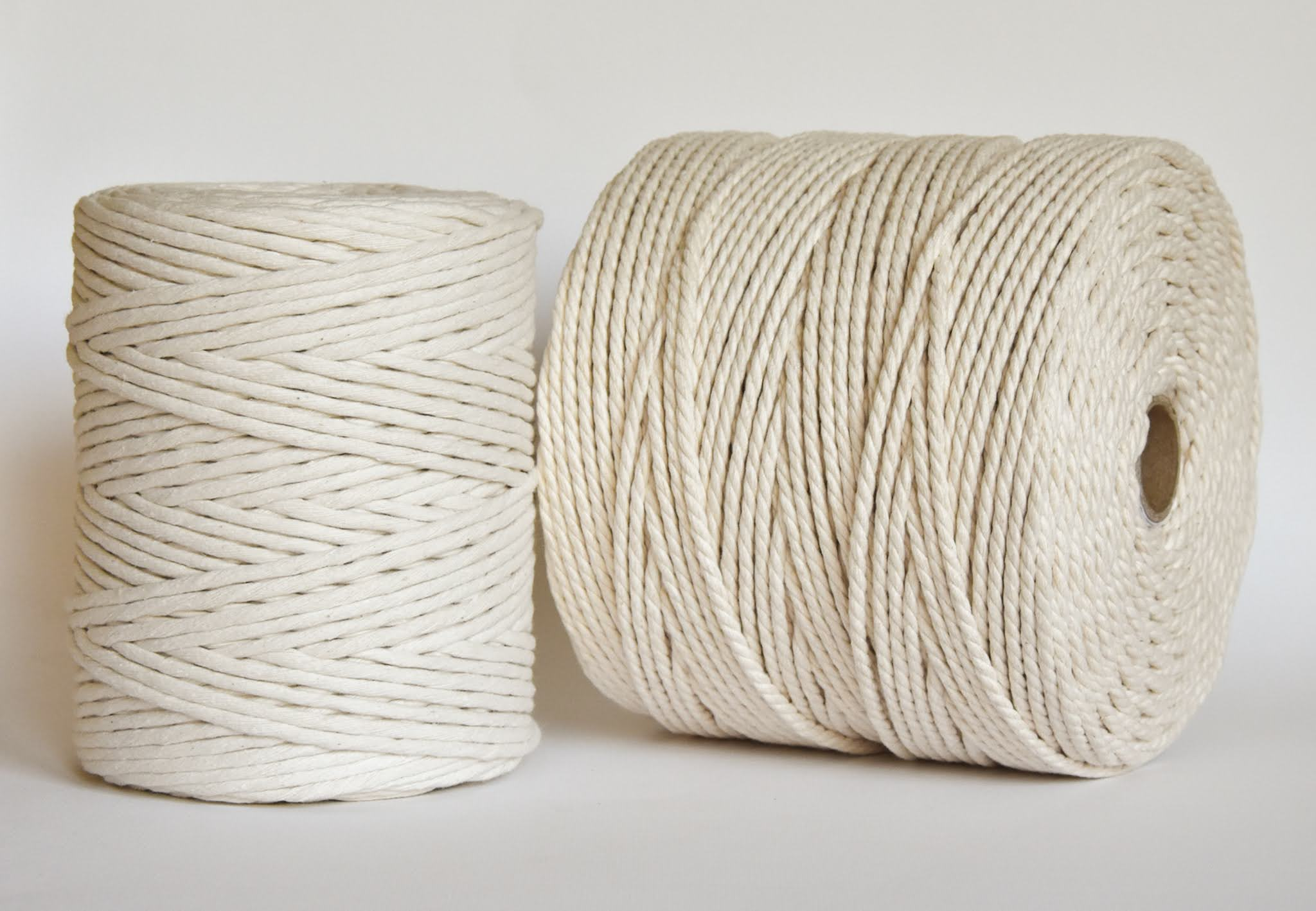 creadoodle 5 mm string and twisted rope cord natural raw recycled oekotec cotton, macrae, weaving, weven