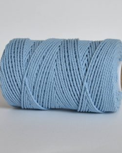 creadoodle 2.5 3 mm katoen koord 3-ply twisted gedraaid gerecycled cotton rope macrame twisted sky blue