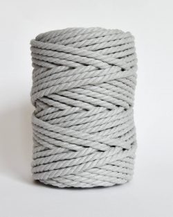 creadoodle soft collection macrame rope touw 6 mm katoen koord 3-ply twisted gedraaid gerecycled cotton rope macrame twisted light grey