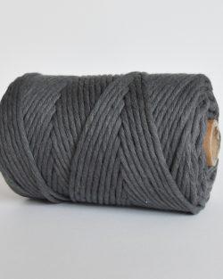 creadoodle lush collection 5 mm single strand oekotex cotton katoen koord macrame, weaving cord smoked steel