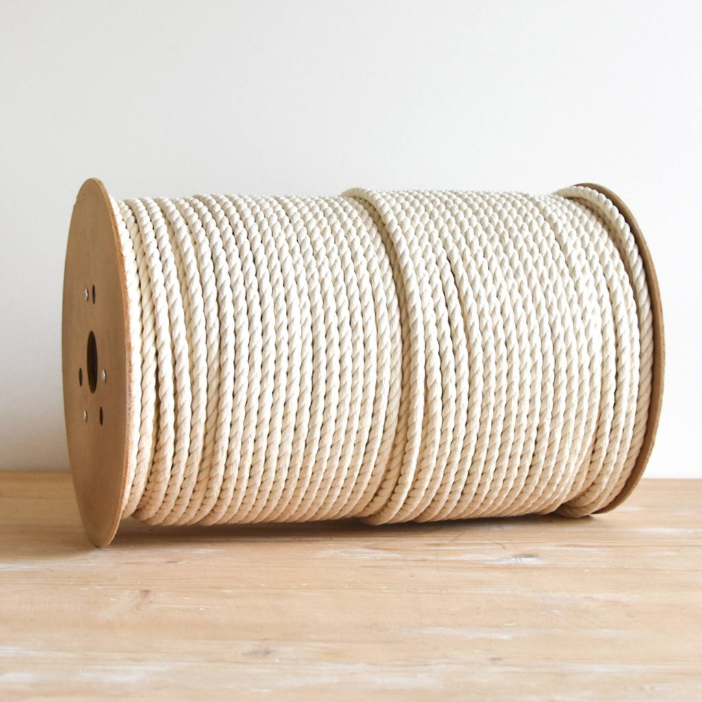 creadoodle luxe rope 8 mm 3-ply twisted cotton rope natural raw for macrame and other creative hobby, macrame touw