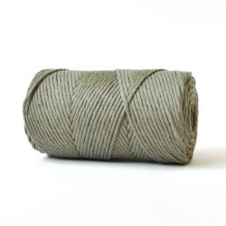 creadoodle basic collection string for macrame, weaving, crochet, knitting needle punch and more 100% cotton natural raw 3 mm khaki green army