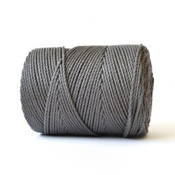 creadoodle basic collection string and rope for macrame, weaving, crochet, knitting needle punch and more 100% cotton natural raw 3 mm earthstone grey