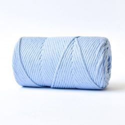 creadoodle basic collection string and rope for macrame, weaving, crochet, knitting needle punch and more 100% cotton natural raw 3 mm sash blue