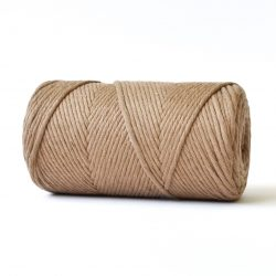 creadoodle basic collection string and rope for macrame, weaving, crochet, knitting needle punch and more 100% cotton 3 mm cafe latte